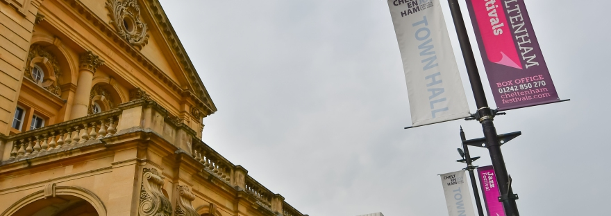 Lamppost banners outside Cheltenham Town Hall