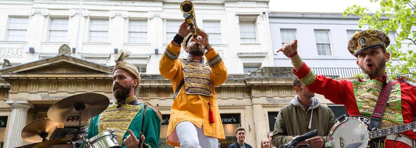 Marching jazz band in Cheltenham