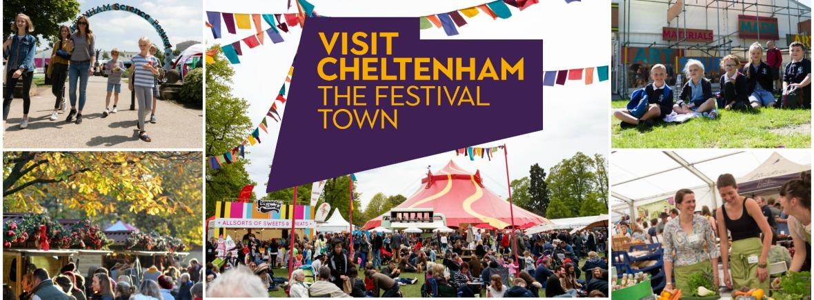 Collage of images from festivals across Cheltenham
